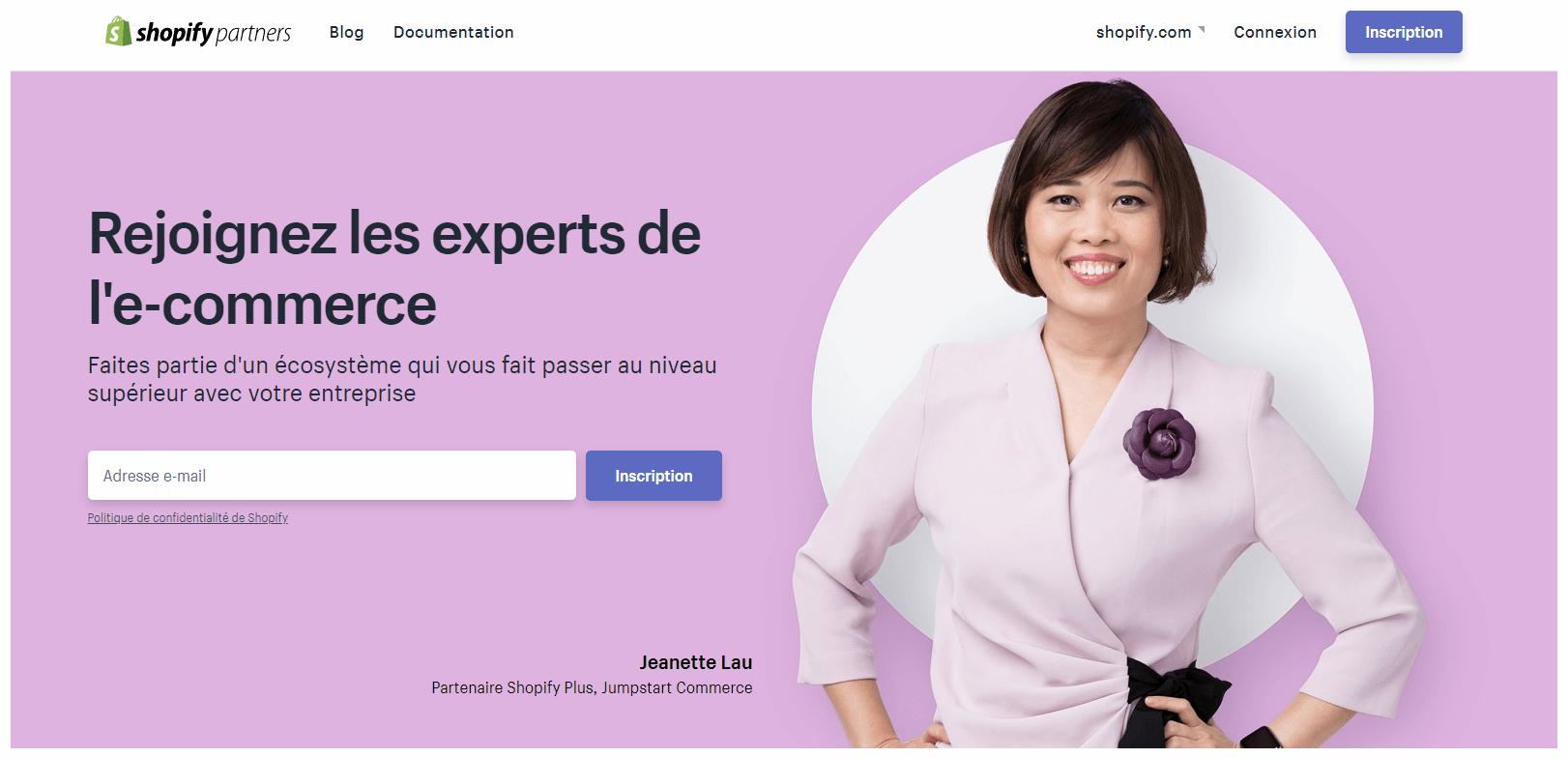 accueil shopify partner